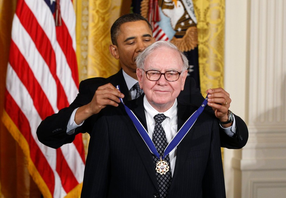 U.S. President Obama awards the Medal of Freedom to recipient Buffett during ceremony at White House in Washington